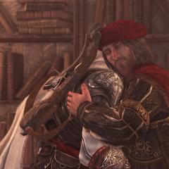 Ezio biedt Leonardo een afscheid aan.
