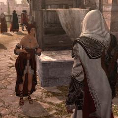 Ezio chassant Giuletta de la Rose fleurie
