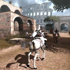 Ezio en Machiavelli rijden bij het Colosseum