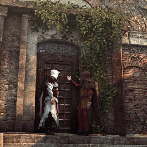 Ezio et La Volpe devant l'auberge