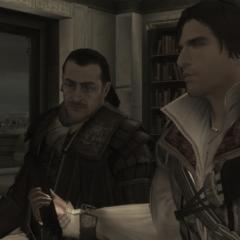 Ezio offrant la page du Codex de son père à Mario
