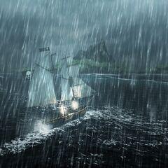 在暴风雨中的一艘船
