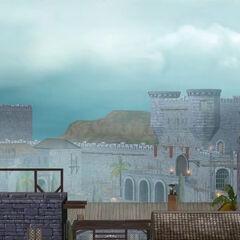 一个阿卡城堡墙壁的场景,由Animus 4.38模拟而成