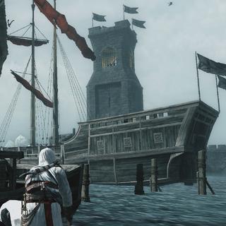 西部灯塔和停在塔前的席布兰德的船