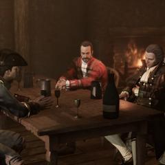 圣殿骑士们坐在桌旁