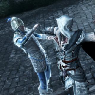 Ezio assassinant la cible indiquée