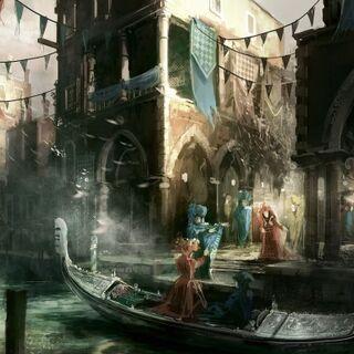 卡内瓦莱和小船的艺术概念