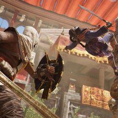 Bayek combattant la Duelliste dans l'arène