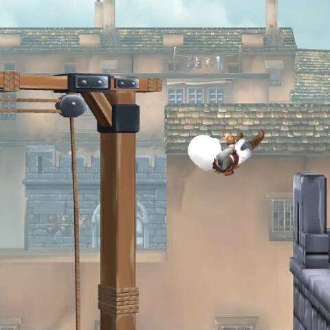 阿泰尔跳到一座屋顶上