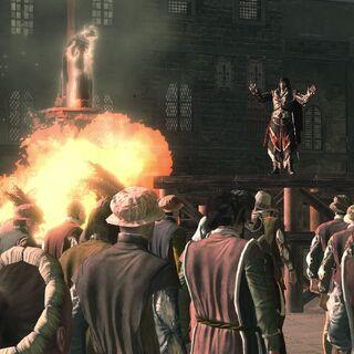 Ezio hält eine Rede bei Savonarolas Hinrichtung