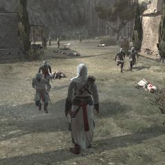 Les Assassins courant se réfugier dans la forteresse