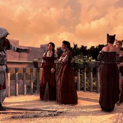 Ezio vraagt aan Claudia om Caterina Sforza te vinden