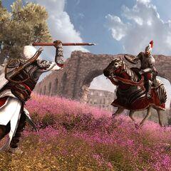 Ezio contrant une charge à l'<a href=