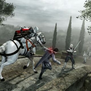 Ezio on horseback, striking down Checco