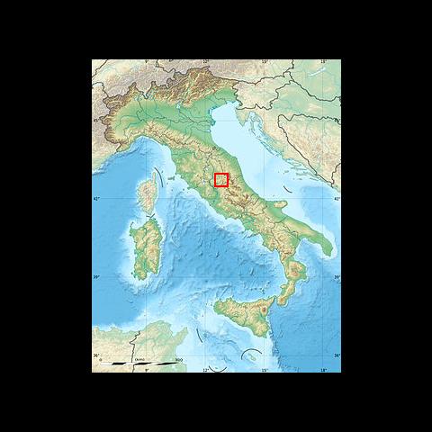 Localisation de la vallée de <b>Valnerina</b> en Ombrie, au centre de l'Italie