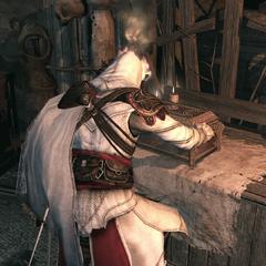 Ezio ouvrant le coffre au trésor