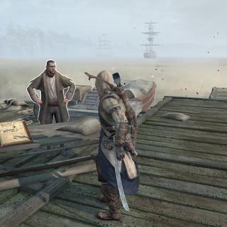 Connor auprès d'un <b>capitaine de port</b> dans la Frontière