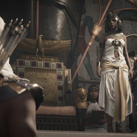 Bayek annonçant la mort d'Hetepi à Cléopâtre