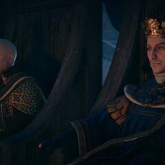 Clément V et le roi Philippe assistant à l'exécution de Jacques de Molay