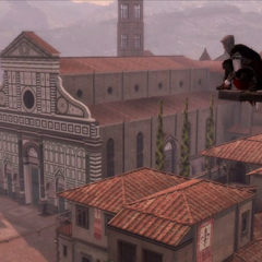 Ezio surveying Florence from a <a href=