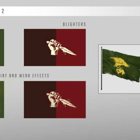 Concept art of the Rooks' and the Blighters' flags