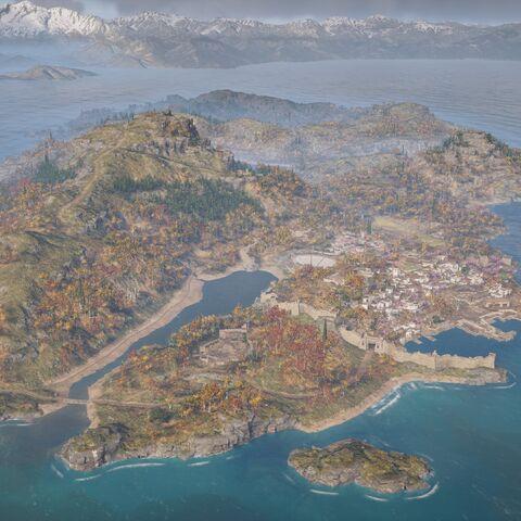 从西部高空俯瞰莱斯博斯岛