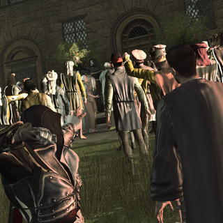 Ezio throwing a knife at Savonarola