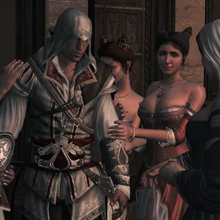 Teodora et ses courtisanes félicitant Ezio