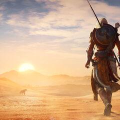 Bayek errant dans le désert égyptien