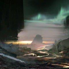 Concept art van de aarde na de ramp.