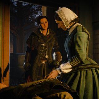 Florence Nightingale recevant les remèdes de la part d'Evie