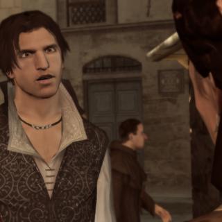 Ezio is boos vanwege de opmerking van zijn moeder.