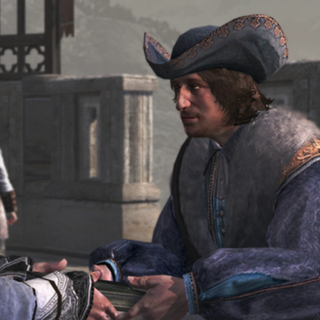 Altaïr léguant son <b>Codex</b> à Niccolò Polo
