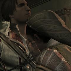 Ezio troost Claudia na de executie.