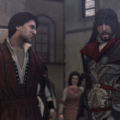 艾吉奥在一段克里斯蒂娜任务中穿着赫尔姆斯米尔特铠甲