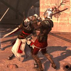 Ezio affrontant les gardes