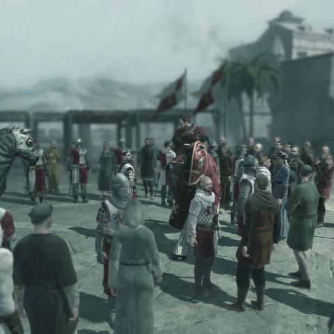 Altaïr dissimulé parmi la foule lors de la dispute entre les deux Croisés