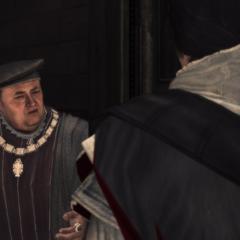 Ezio geeft Uberto de documenten.