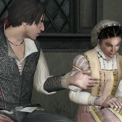 Claudia vertelt Ezio over haar problemen met Duccio.