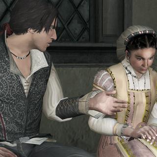 Claudia vertelt Ezio over haar problemen met Duccio