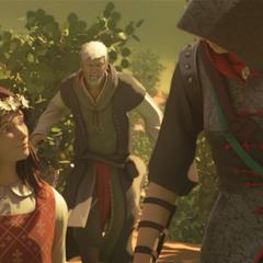 Flavia met Shao Jun en Ezio die naar hen rent