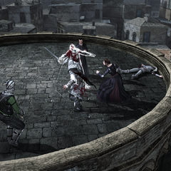 Machiavelli, Ezio et Caterina défendant la forteresse