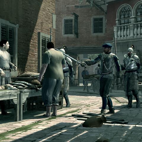 Les gardes d'Emilio Barbarigo s'en prenant à un marchand