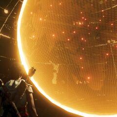Aya devant l'hologramme du globe terrestre