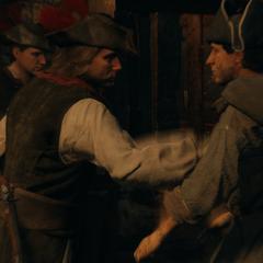 Les gardes repoussant les mendiants