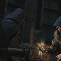 Ezio kneeling by Altaïr's body