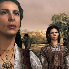 <b>Maria</b> donnant ses dernières instruction à Ezio avant son départ pour Rome