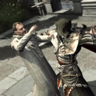 Ezio assassinant le prédicateur