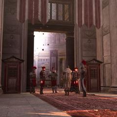 Egidio en de wachters bij het Pantheon.