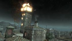 Torre dei Borgia in fiamme